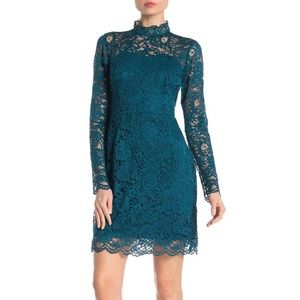 NWT Teal Blue Lace Mock Neck Dress Betsey Johnson
